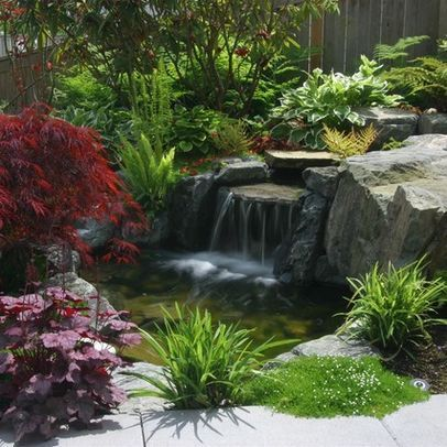 Love the waterfall and plants around it it creates a for Planting around a pond suggestions
