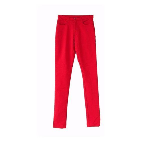 Women Red Pant / Vtg Vintage pant / Size S / Slim fit / by LPSNUG