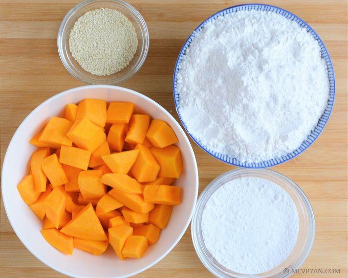 Pompoen sesam koekjes volgens Chinees recept. Glutenvrij / lactose-vrij / geen oven nodig  #pompoen #sesamzaadjes #koekjes #Aziatisch #Chinees #recepten #koken #glutenvrij #lactosevrij #vegetarisch