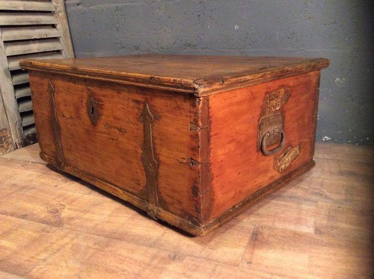 rare antique dutch vintage pine trunk chest box poss coffee table