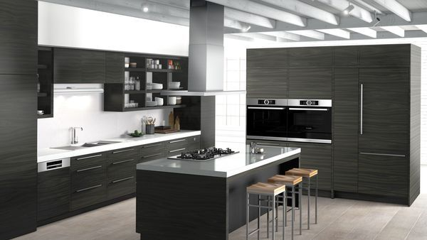 Built-in oven at eye level, Gas cooktop, Steam oven with warming drawer