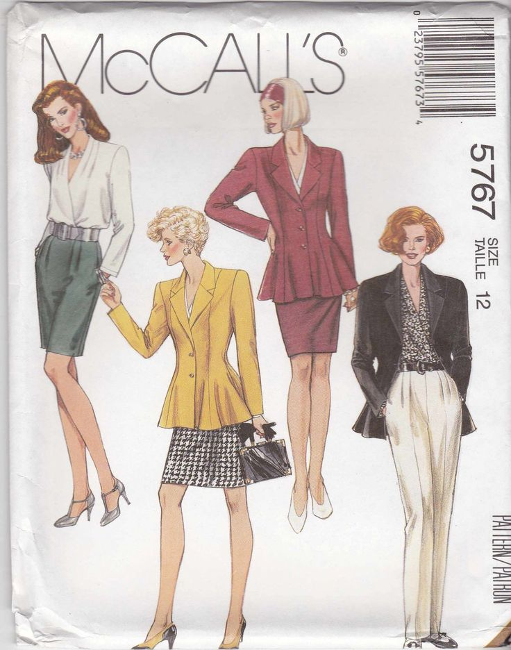 McCalls Sewing Pattern 5767 Misses Size 12 Wardrobe Peplum Jacket Skirt Pants Blouse   McCalls+Sewing+Pattern+5767+Misses+Size+12+Wardrobe+Peplum+Jacket+Skirt+Pants+Blouse