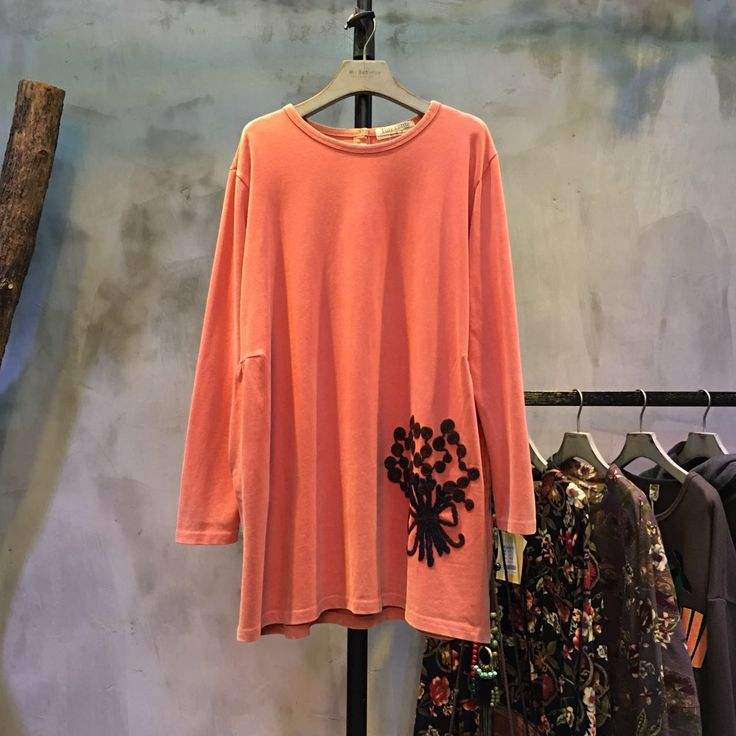 Forest Girl Flower Applique Cotton T-shirt Loose Cheap T-shirt