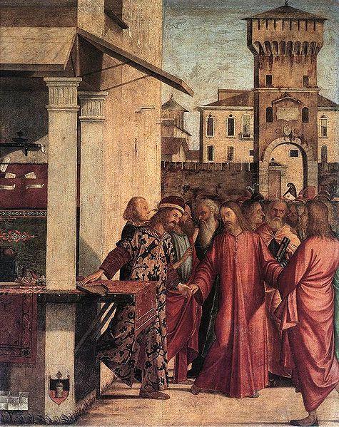 The Calling of Matthew by Vittore Carpaccio 1466-1525.  Wikipedia.