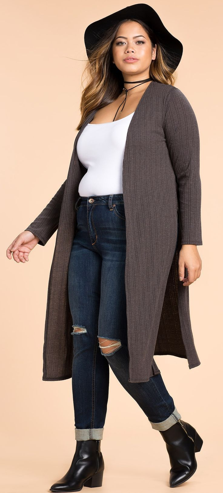 Plus Size Slit Cardigan