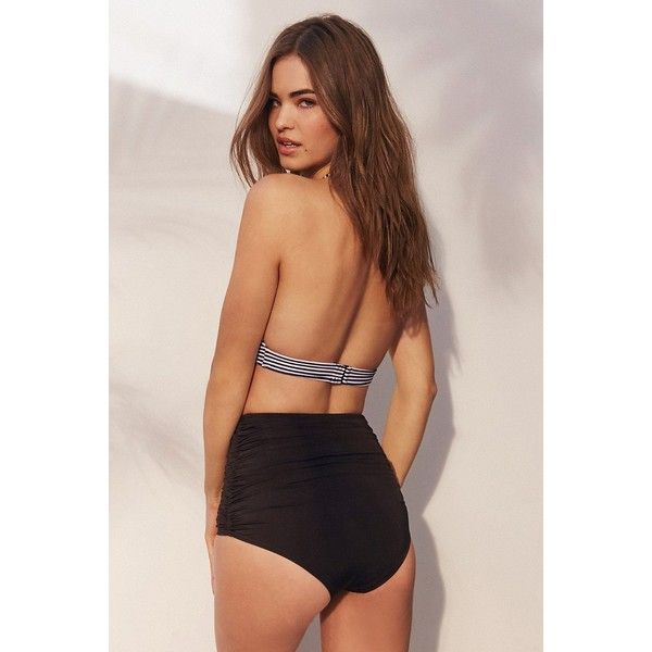 Out From Under Solid Ruched High-Waisted Bikini Bottom ($42) via Polyvore featuring swimwear, bikinis, bikini bottoms, black, high rise bikini, high rise bikini bottom, highwaisted bikini, black high waisted bikini bottoms and black bikini