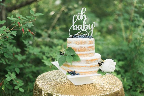 Glitter oh baby Cake Topper  Baby Shower Cake by CutsOfConfetti