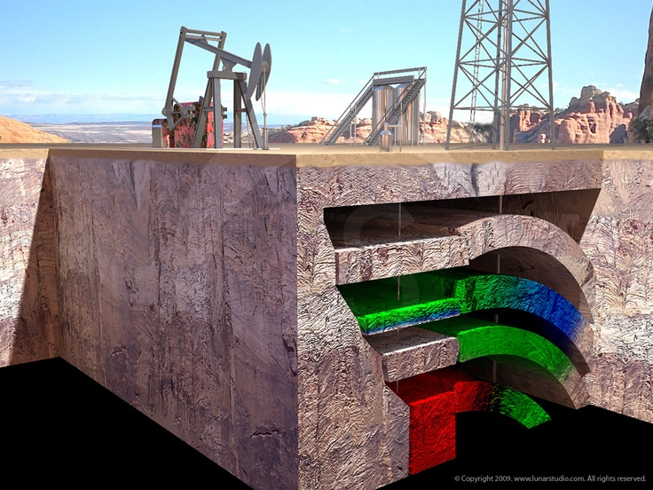 Oil Field Diagram. ::           Created for oil & gas exploration training videos.            Artist & Modeler: Cleo.           HDR Environment: Christian Bloch - www.blochi.com.            After IHRDC (International Human Resource Development Center.)