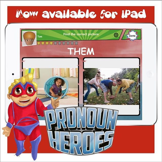 Pronoun Heroes is an engaging way to teach inspiring superheroes the use of pronouns. Created by certified speech-language pathologists and developed by Smarty Ears Apps, Pronoun Heroes teaches and reinforces the use of pronouns in multiple ways. The comi