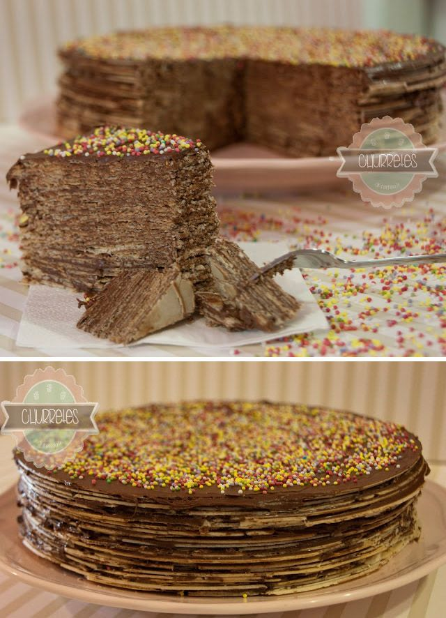 Tarta de obleas y Nutella / de http://churretesdecocholate.blogspot.com.es/