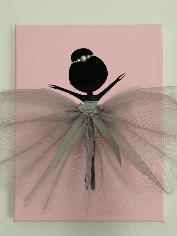 Ballerina-Kinderzimmer-Wand-Kunst. Rosa und grauen | Etsy ...