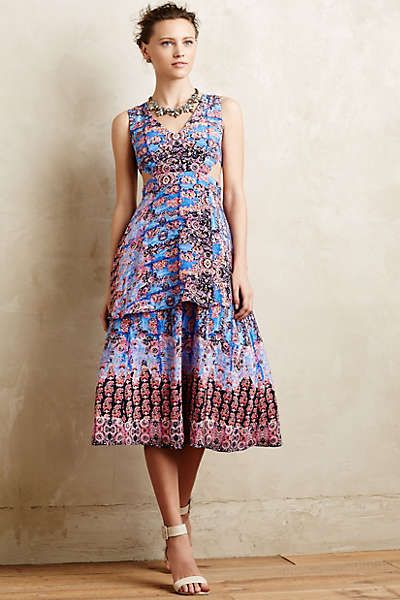 Silk Cut-Out Midi Dress