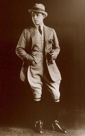 Men's fashion in the 1920s went through just as much change as women's fashion. Prior to WWI, men's suits were three piece, padded, and very conservative.