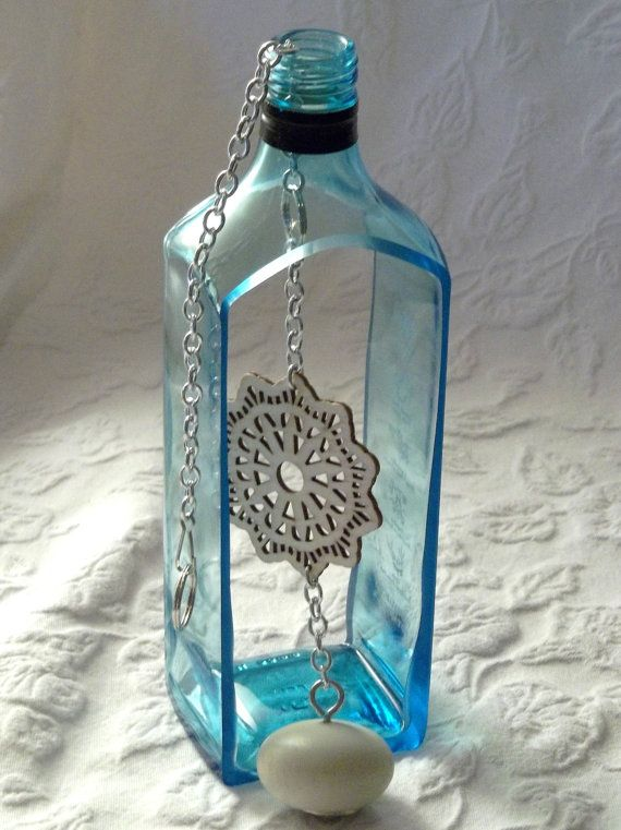 242 best wine bottle art images on pinterest glass for Recycled glass projects
