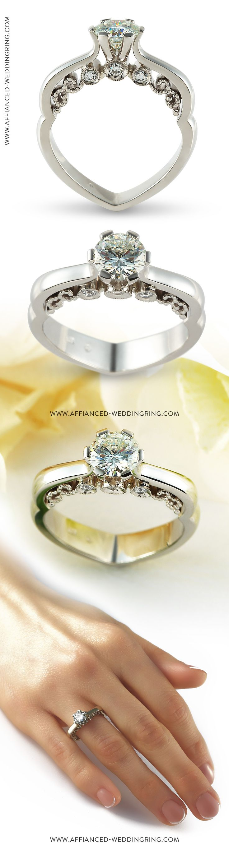 Luxury look white gold engagement ring decorated with center 1ct diamond and 6 pcs small diamonds.