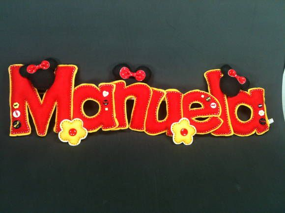 Nome Em Feltro Manuela | Lili Mosaico & Artesanato | 3357C9 - Elo7