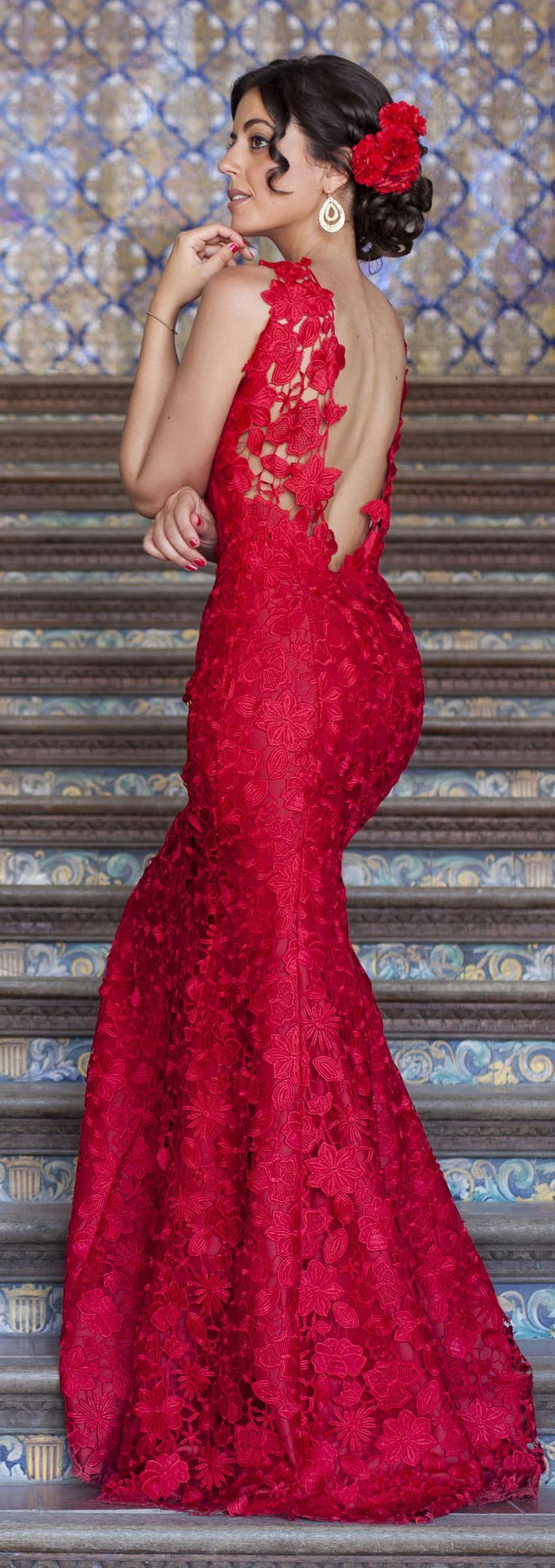 Red Andalusian Gown Cocktail Style - 1sillaparamibolso
