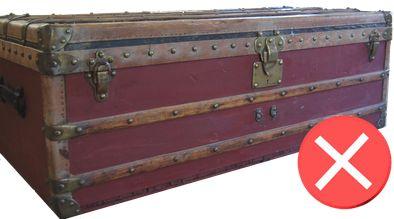 Guide d'achat malle de luxe - restauration trunk malle ancienne louis vuitton repeinte attention