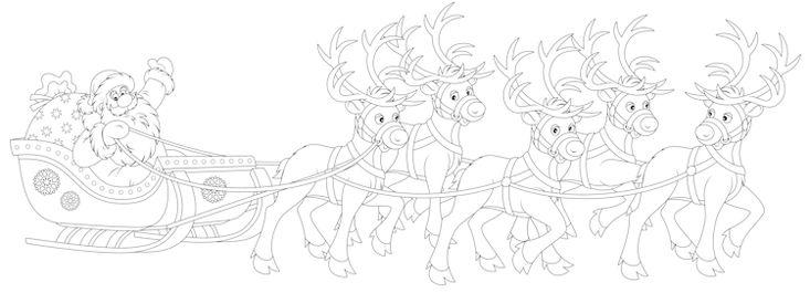Kleurplaat van de Kerstman en zijn slee die wordt getrokken rendieren de porte