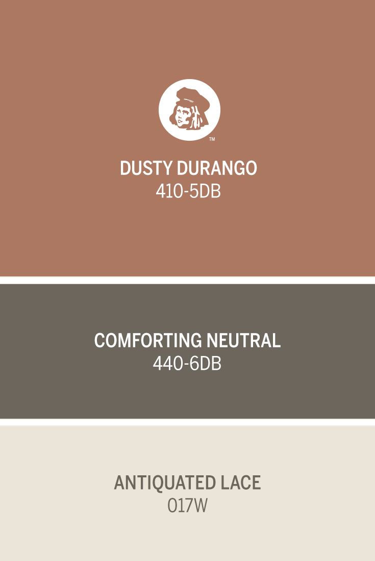 Dutch Boy's Comforting Neutral 440-6DB and Antiquated Lace 017W are the perfect color compliments for a fall-inspired hue like October's Color of the Month, Dusty Durango 410-5DB.
