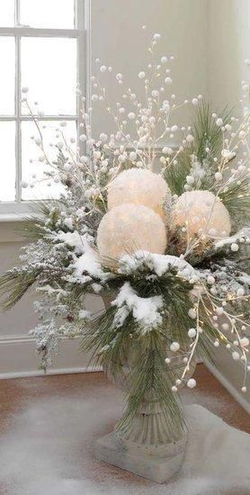 styrofoam balls, glue & epsom salts greenery and snow spray ~
