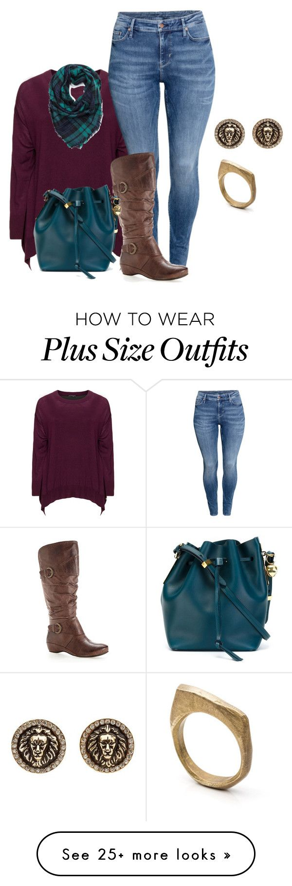 """""""plus size fall/winter boot and sweater style"""" by kristie-payne on Polyvore featuring Jette, H&M, Avenue, Sophie Hulme, Charlotte Russe and by / natalie frigo"""