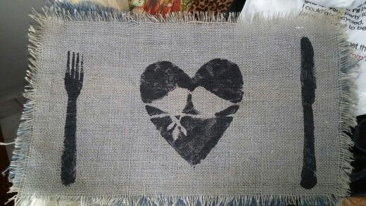 Hand painted/stamped my own design onto pieces of hessian... So easy to do