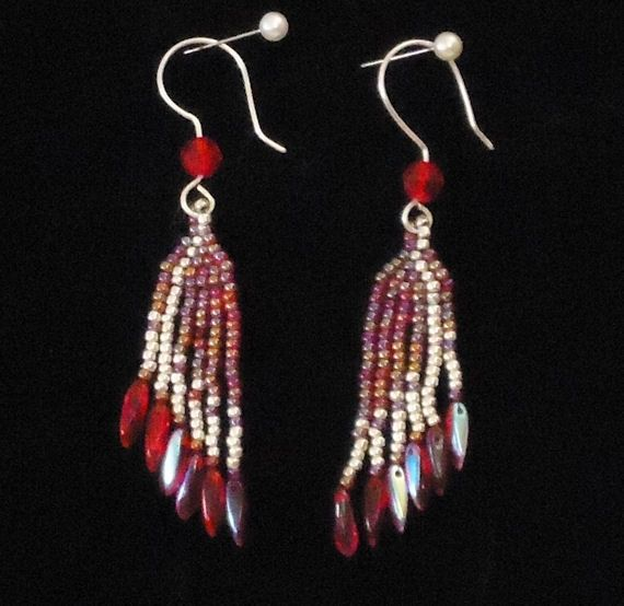 Beaded Earrings, Fine Jewelry, Dangling Beaded Earrings With Fine Silver Earwire