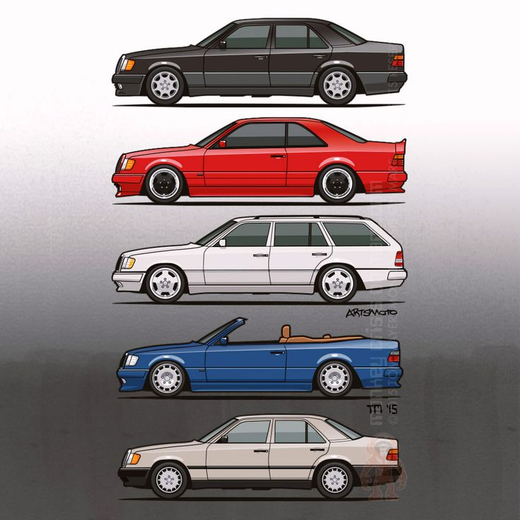 Stack of Mercedes Benz W124/A124 E-Class –  Illustration of  Mercedes Benz W124 (E-Class), 300E Sedan, blue A124 420E Cabrio with Carlsson wheels and body kit, lowered white wagon with #AMG Monoblock wheels, red AMG #300CE #E36 Hammer widebody bodykit coupe, black 500E. Tom Mayer, Monkey Crisis On Mars ©2015 All Rights Reserved #CarArt #Illustration