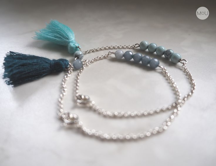 Silver bracelets with howlite, jades and fringes by MOU
