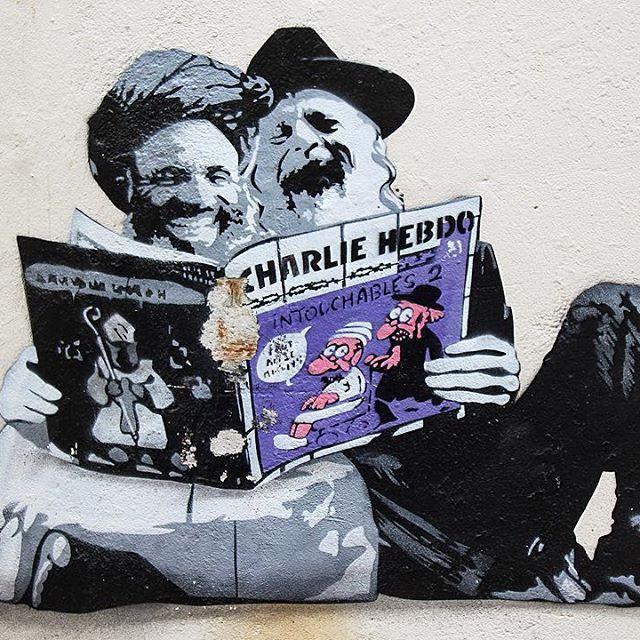 """When your cities street art """"just gets it"""" """"Laugh"""" by @AFK -------------------- #bergen #norway #visitbergen #visitnorway #streetart #streetartbergen #streetarteverywhere #streetartist #art #artoftheday #art_spotlight #arts #artofvisuals #artsy #jesuischarlie #charliehebdo #gatekunst #gatekunstbergen #stencilart #instaart  #instacool #afk"""