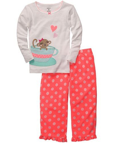 485b1027b Girls Tea Cup Monkey Pajama Set