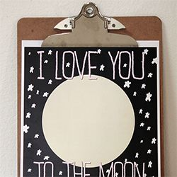 I Love You to the Moon & Back free printable. Great for a nursery & Valentine's Day.  Pink & blue-green versions available.