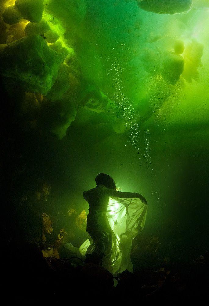 """Ophelia"" by Viktor Lyagushkin ~ Two-time world champion free diver Natalia Avseenko beneath the ice. White sea. Russia. Light - Bogdana Vashchenko. Sea Daemons- Sirens."