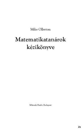 Matematikatanárok kézikönyve - Kiss Virág - Picasa Webalbumok