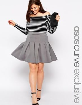 ASOS CURVE Exclusive Skater Skirt with Deep Waistband