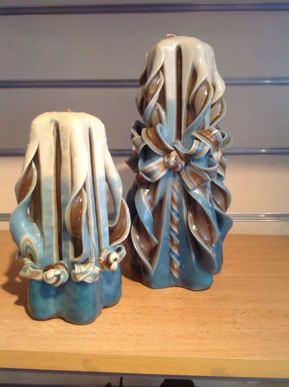 Carved Candle in Duck Egg Blue  or choose your own by artofcandles