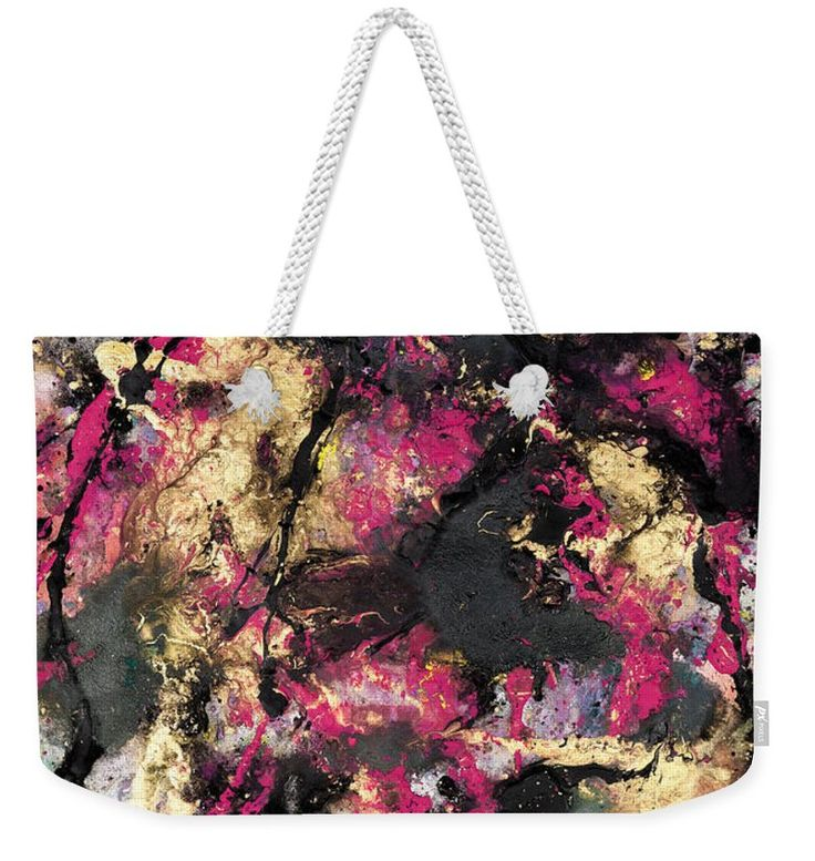 Pink, gold and black abstract art weekender tote bag. Artist Tracey Lee Art Designs