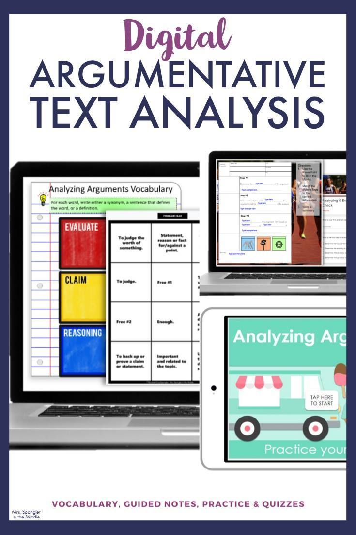 Argumentative Text Analysis Digital Unit In 2021 Law School Inspiration Text Analysis Middle School Health