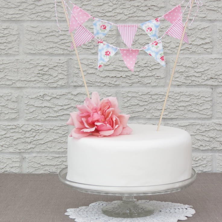 Cake Bunting - BRITISH CREAM TEA  - A Pretty Fabric Cake Topper, perfect for Weddings, Parties and Baby Showers