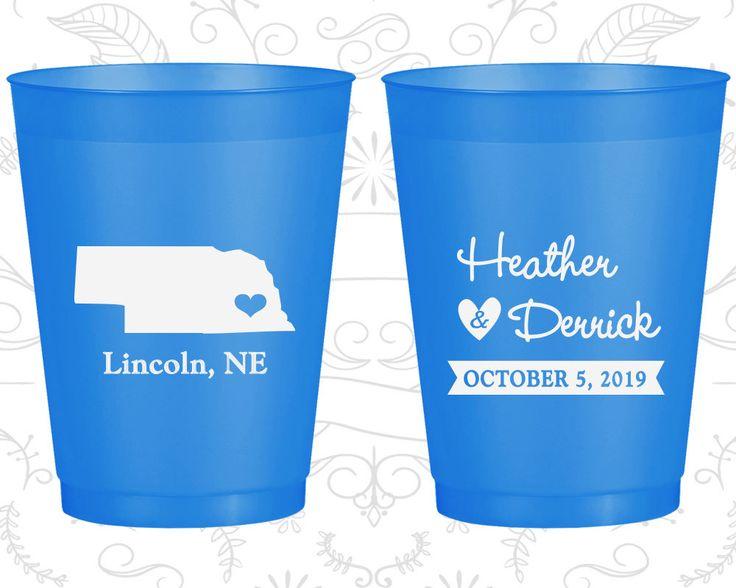Nebraska Wedding, Printed Frost Flex Cups, Destination Wedding, State Wedding, Blue Frosted Cups (126)