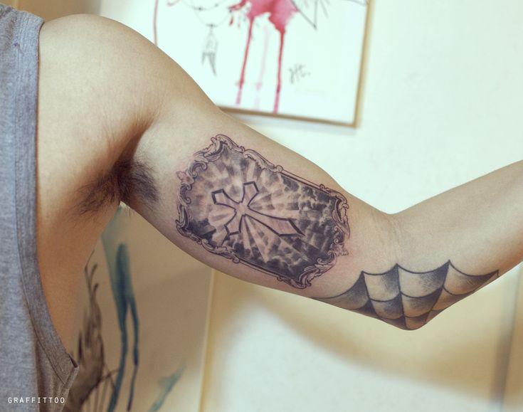 십자가 타투 by 타투이스트 리버 / Cross Tattoo / 구름타투 / 빛타투 / 분당 타투 / 십자가 문신