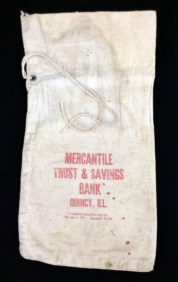 Vintage Canvas SPURGIN'S EYELETED Coin Bag Money Bag Bank Bag Deposit Bag Mercantile Trust & Savings Bank Quincy ILL