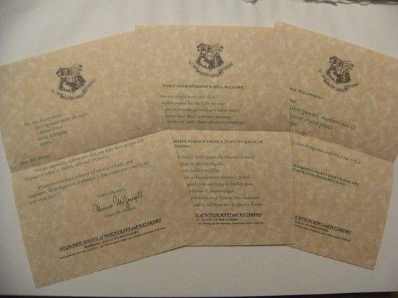 17 best Harry Potter Party images on Pinterest Harry potter - hogwarts acceptance letter