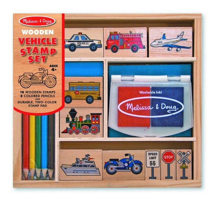Vehicles Wooden Stamp Set at www.kidstoystoyou.com.au