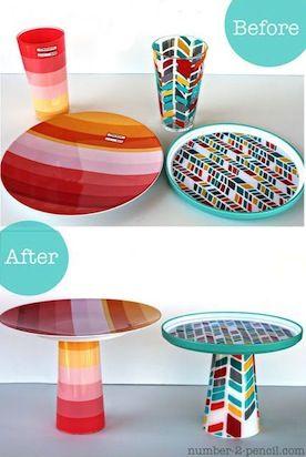 Antes e depois: aqui, os suportes foram montados com copos e pratos de acrílico.