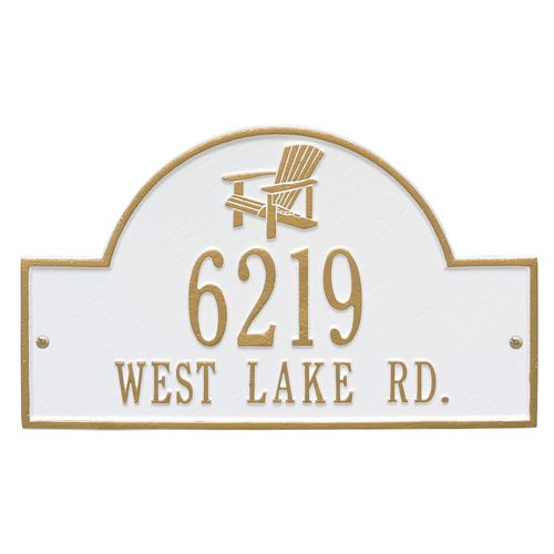Custom Adirondack Chair House Plaque - White and Gold