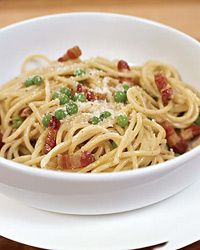 Spaghetti Carbonara with Green Peas Recipe from Food & Wine