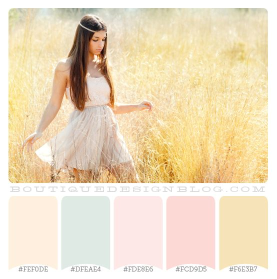 Dreamy Summer Color Scheme - LOVE! These are the pale shabby colors for the the twins' room that I'm looking for!