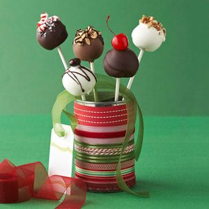 IT'S ON OUR CHRISTMAS LIST!    Holiday Cake Pops  Recipe from @Gayle Roberts Merry Homes and Gardens    These petite cake pops will be a holiday hit with kids from 4 to 94. You will find lollypop sticks at craft stores and the cake decorating supply shelves of most discount stores.